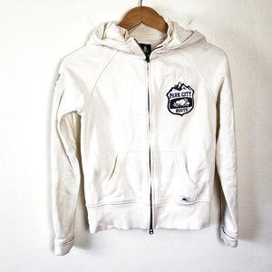 Roots White Full Zip Womens Ski Hoodie Sweatshirt